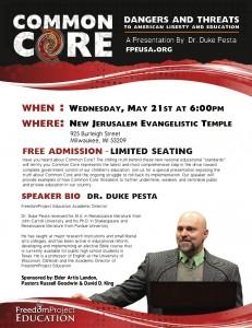 Dr. Duke Pesta Presentation Flyer - Milwaukee